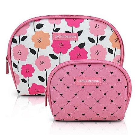 Kit necessaire 2 peças meia lua Jacki Design Pink Lover Rosa