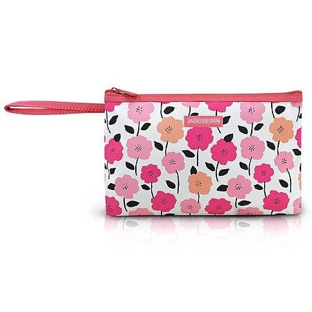 Necessaire com alça Jacki Design Pink Lover Salmão Floral