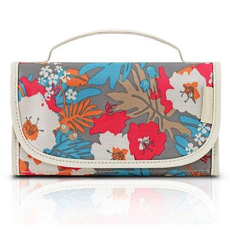 Necessaire Rocambole Estampada floral bege Jack Design