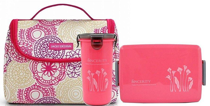 Bolsa Térmica de mão com marmita+copo - Jacki Design rosa