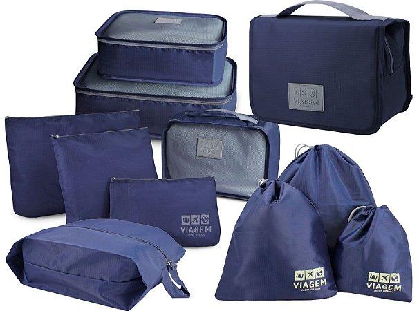 Conjunto 10 organizadores de malas com 1 necessaire Azul