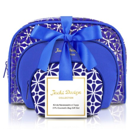Kit Necessaire 3 Em 1 Geométrica azul royal Jacki Design