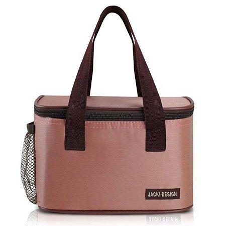 Bolsa térmica essencial rosa pequena com alça de mão Jacki Design