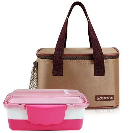 Bolsa térmica essencial marrom com marmita dupla rosa