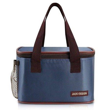 Bolsa térmica essencial azul pequena com alça de mão Jacki Design