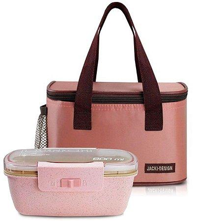 Bolsa térmica essencial rosa com marmita ecologica dupla