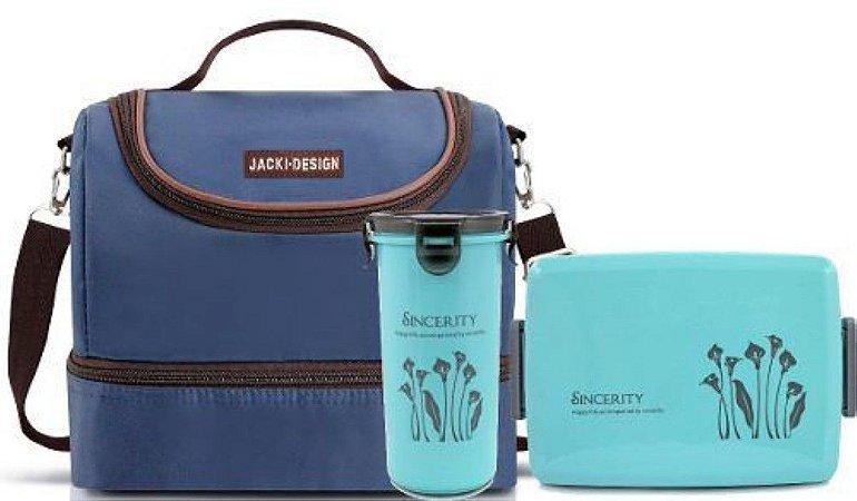 kit bolsa dupla térmica azul com marmita e copo Essencial