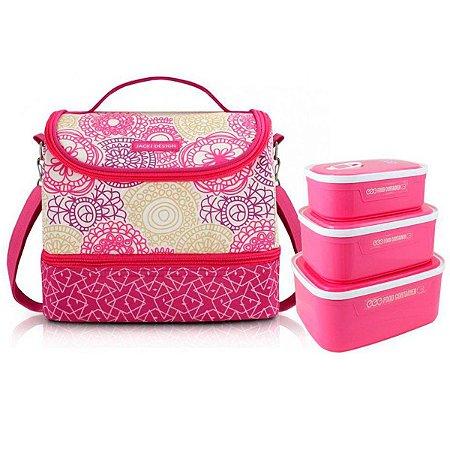 Bolsa Térmica dupla Com 3 Marmitas Rosa My Lolla Jacki Design