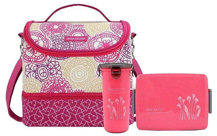 Bolsa Térmica rosa My Lolla com kit Marmita Jacki Design