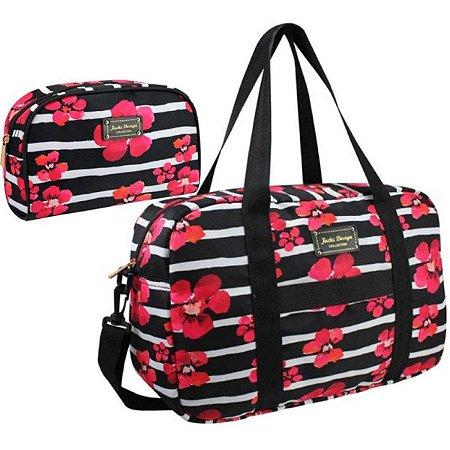Bolsa feminina com necessaire Bossanova preto Jacki Design