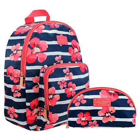 kit mochila com necessaire meia lua - Bossanova azul