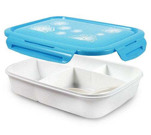 Marmita com 4 compartimentos 1350ml Azul Jacki Design