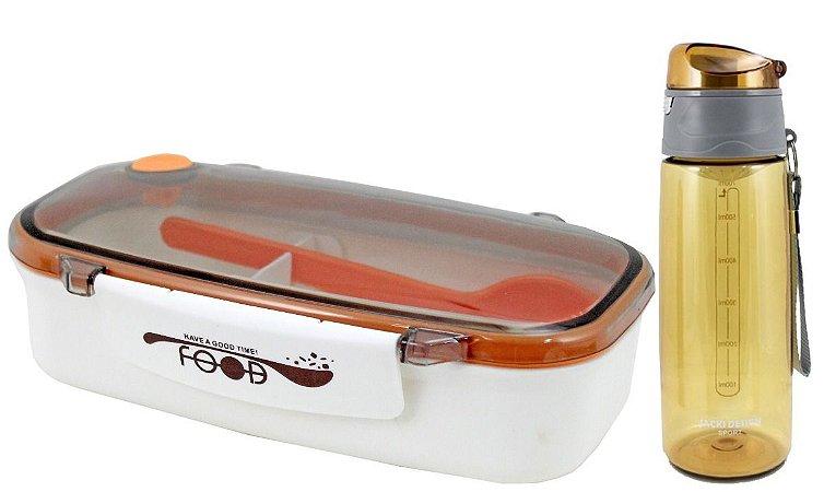 Kit Marmita C/ Colher E Garrafa Squeeze Jacki Design laranja