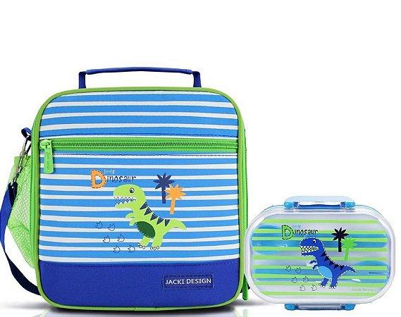 Lancheira Escolar com pote 2 Andares dino Jacki Design azul