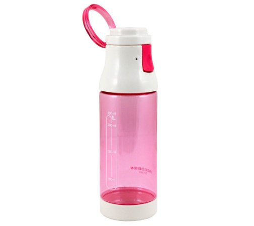 Garrafa com Alça superior e trava Rosa 400ml Jacki Design