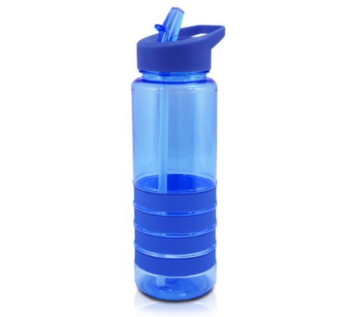 Garrafa Squeeze com Canudo Retrátil Azul Jacki Design 750ml