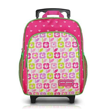 Mochila P com rodinhas Sapeka Jacki Design Flor Pink
