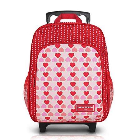 Mochila G com rodinhas Sapeka Jacki Design Vermelha Corações
