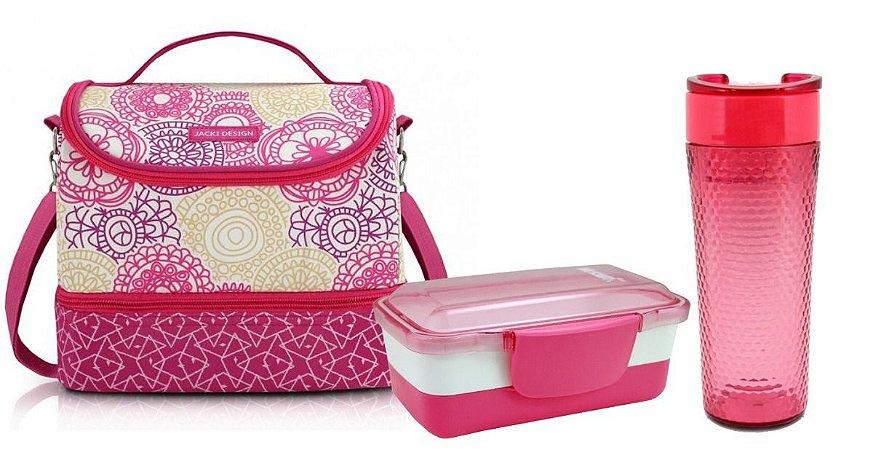 Kit Bolsa Termica Lancheira C/marmita 2 Andares E Copo rosa