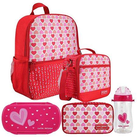 Kit Escolar coração Vermelho Mochila + Lancheira + Marmita + Estojo + Squeeze