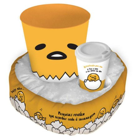 Almofada Porta Pipoca com balde e copo Gudetama amarelo