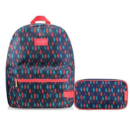 kit de Mochila de costa Com estojo escolar azul e rosa City