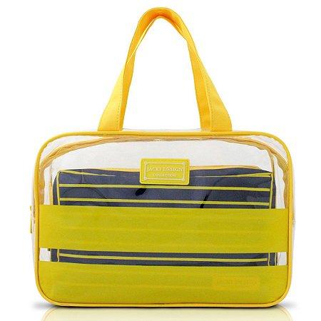 Kit com 2 Necessaires Listradas amarel felicita Jacki Design