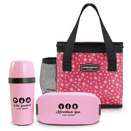Kit bolsa térmica com garrafa e marmita estrela pinks