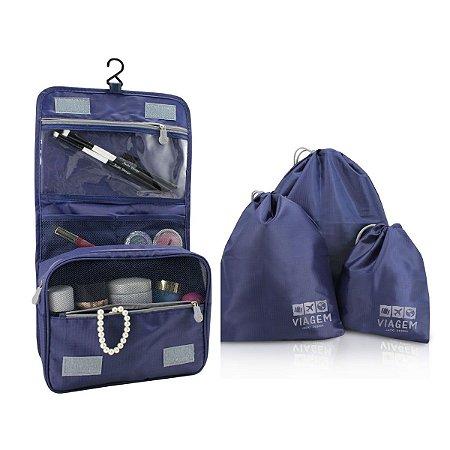 Kit organizados e necessaire de gancho Jacki Design Azul