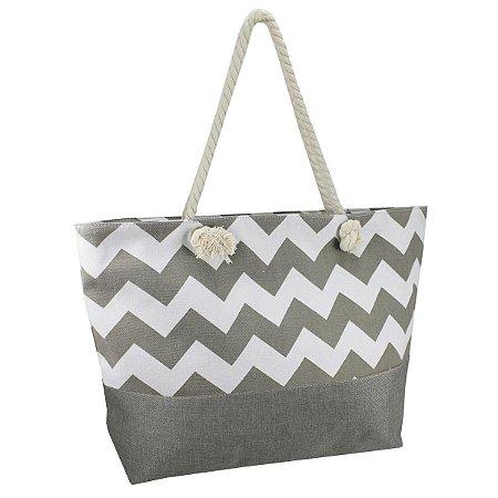Bolsa de praia em lona e alça em corda cinza  Jacki Design