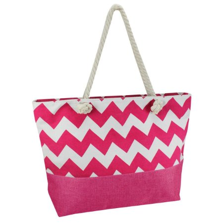 Bolsa de praia em lona e alça em corda pink  Jacki Design