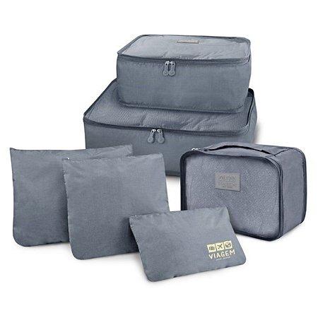 Conjunto de organizadores de malas com 6 peças cinza