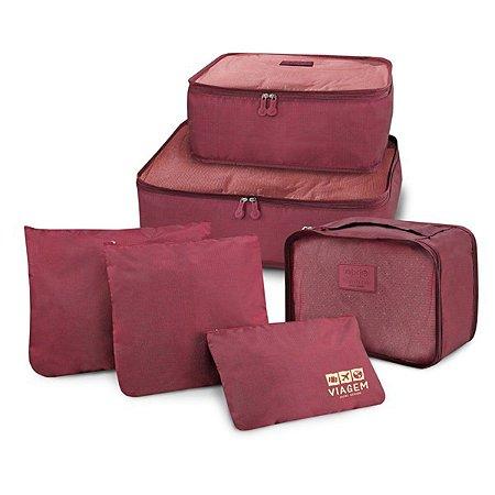 Conjunto de organizadores de malas com 6 peças vinho