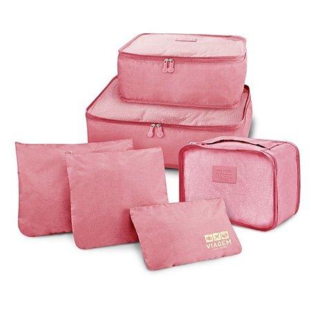 Conjunto de organizadores de malas com 6 peças rosa