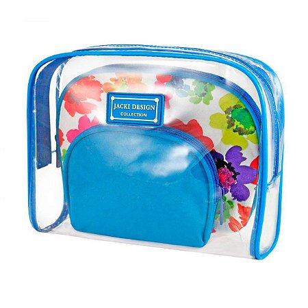 Kit de Necessaire de 3 Peças Aquarela Microfibra e Pvc Azul
