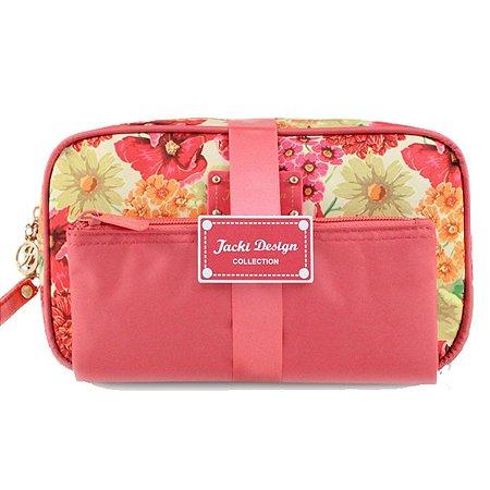 Kit Necessaire 2 Em 1 Floral Miss Cherie rosa Jacki Design