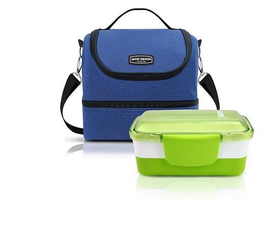 Kit Bolsa Térmica Urbano azul Com Pote Marmita dupla verde Jacki Design