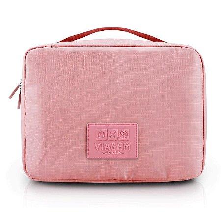 Necessaire de Viagem Rosa Com Compartimento  Jacki Design