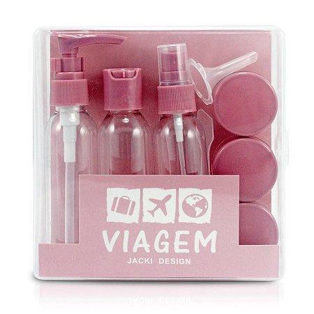 kit necessaire e frascos para viagem Jacki Design rosa 9pcs