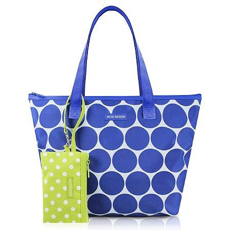 Bolsa Casual Dots com niqueleira Azul Jacki Design