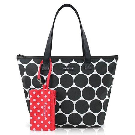 Bolsa Casual Dots com niqueleira Preto Jacki Design