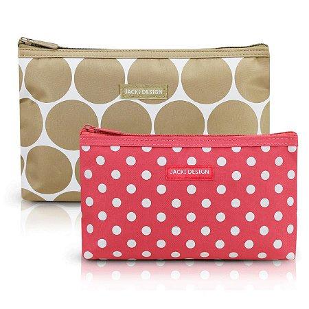 Kit com 2 necessaires de bolsa nude Dots Jacki Design