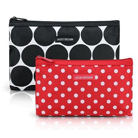 Kit com 2 necessaires de bolsa Preto Dots Jacki Design