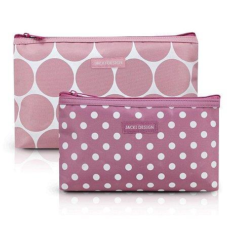 Kit com 2 necessaires de bolsa rosa Dots Jacki Design