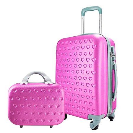 Mala P Giro 360° com Frasqueira Love Pink Jacki Design