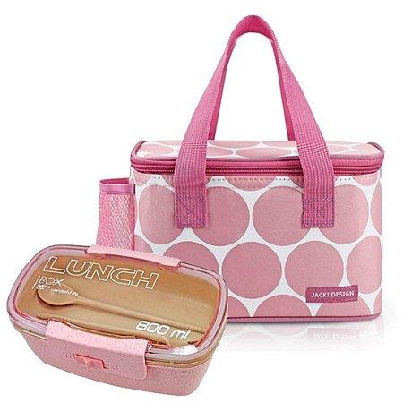 Bolsa Térmica Dots Rosa com Marmita 800 ml Jacki Design