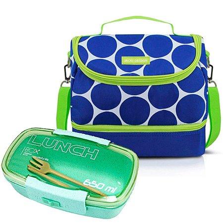 Bolsa Térmica Dupla Dots Azul com Marmita 650ml Jacki Design