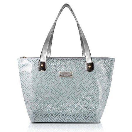 Bolsa Transparente prata com ziper Diamantes Jacki Design