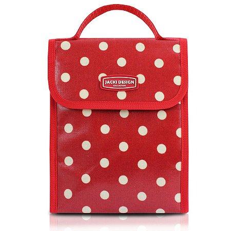 Bolsa Térmica look Bolinha vermelho com velcro Jacki Design