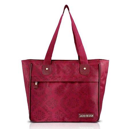Bolsa Shopper Damasco com bolso vinho Jacki Design